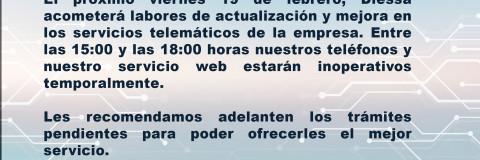 Diessa Informa: Actualización telemática, servicio interrumpido.