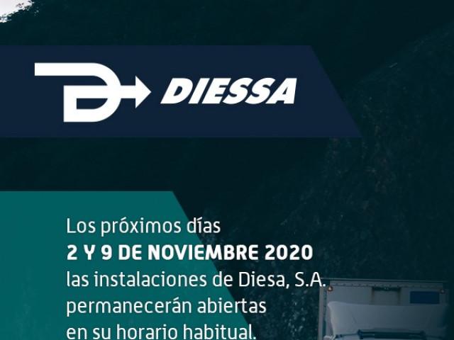 Días 2 y 9 de noviembre de 2020 abrimos en nuestro horario habitual