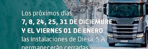 Festivos cerrados en Diessa