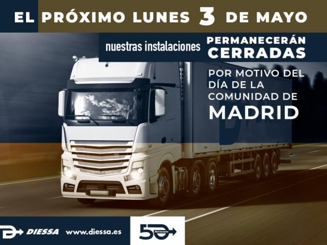 Diessa  cerrado el Dia de la Comunidad de Madrid